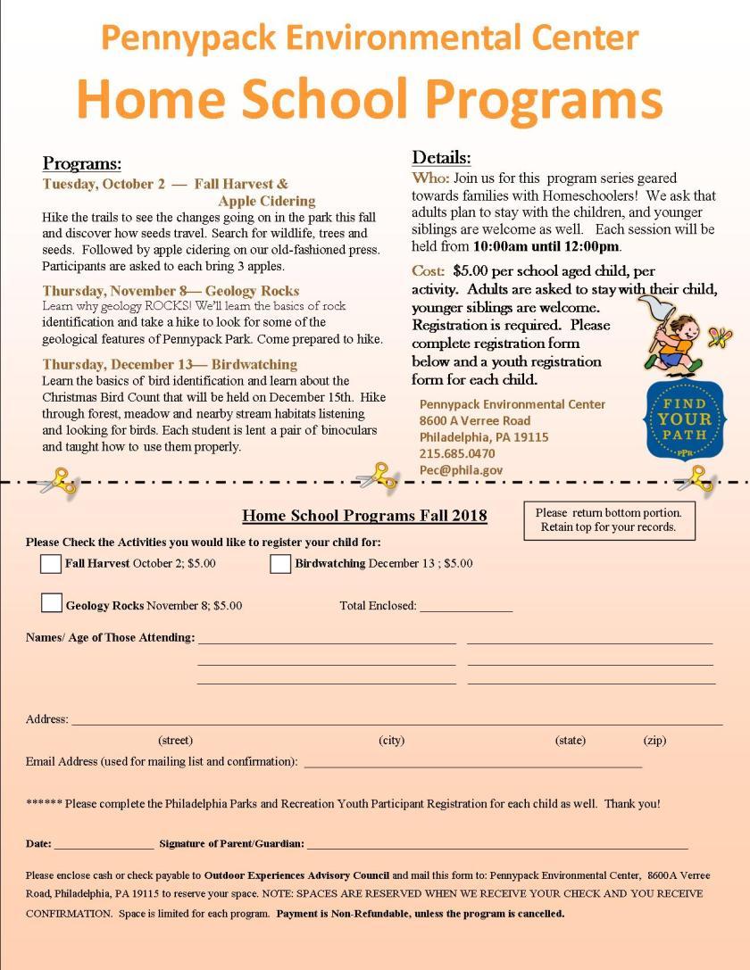 Home School Programs Fall 2018
